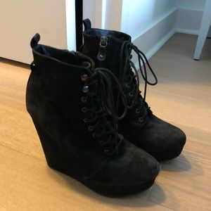 Aldo wedge lace up booties